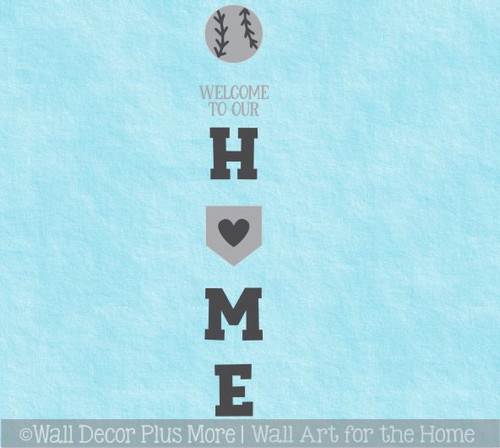 Decal Sticker for Tall Wood Porch Sign Welcome to Our Home Sports Baseball