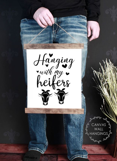 Wood Canvas Wall Hanging With Heifers Sign Cow Art Farm Girl Quote Decor-12x14.5