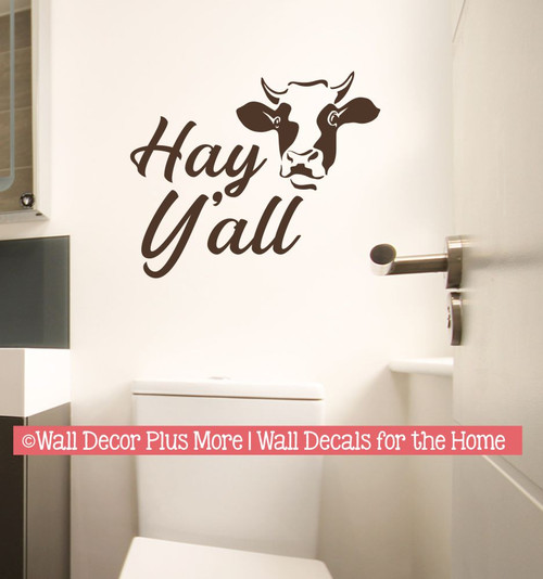 Cow Art Wall Decal Hey Y'all Vinyl Decor Sticker Lettering for Farm Home-Chocolate Brown