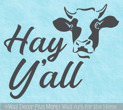 Cow Art Wall Decal Hey Y'all Vinyl Decor Sticker Lettering for Farm Home