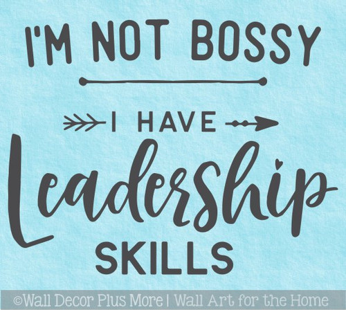 Office Wall Art Decal Not Bossy Leadership Skills Vinyl Letter Sticker