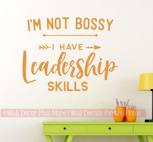 Office Wall Art Decal Not Bossy Leadership Skills Vinyl Letter Sticker-Rust Orange
