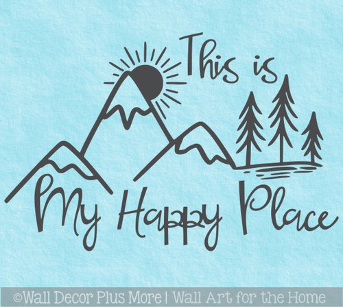 Camping Wall Decal My Happy Place Mountain Scene Camper Decor Sticker