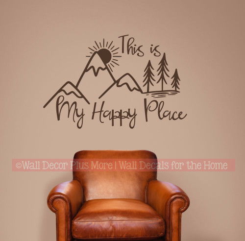 Camping Wall Decal My Happy Place Mountain Scene Camper Decor Sticker-Chocolate Brown
