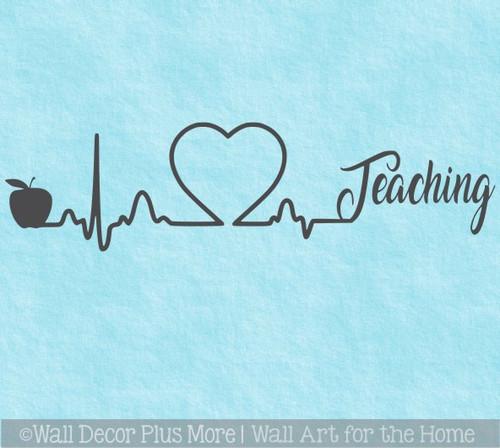 School Teacher Wall Art Heart Apple Teaching Wall Decal Sticker Design