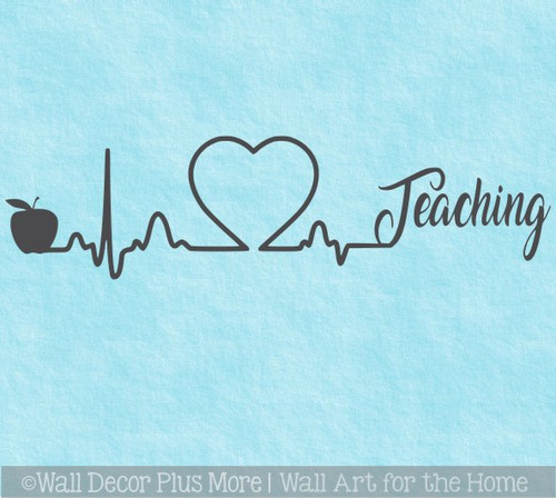 School Teacher Wall Art Heart Apple Teaching Wall Decal Sticker Design