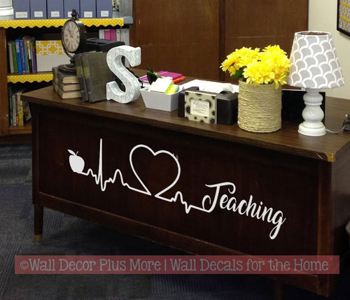 School Teacher Wall Art Heart Apple Teaching Wall Decal Sticker Design-Light Gray