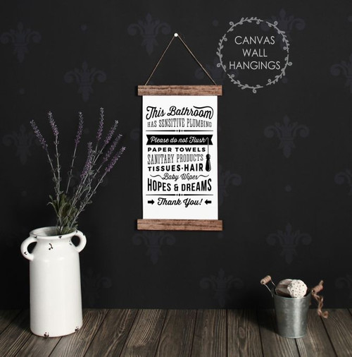 Wood Canvas Wall Hanging Bathroom Sign Don't Flush Dreams Art Quote Decor-9x15