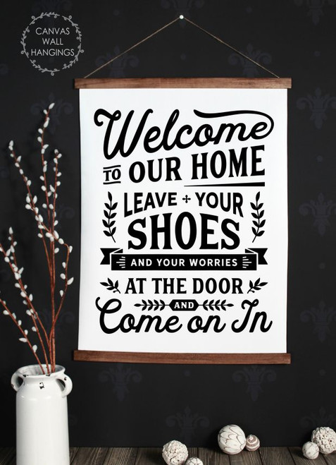 Wood Canvas Wall Hanging Welcome Sign Leave Shoes Worries Entry Decor-23x30