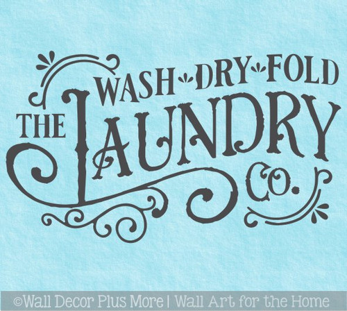 Rustic Laundry Room Co Wall Decor Decal Sticker Quote Wash Dry Fold