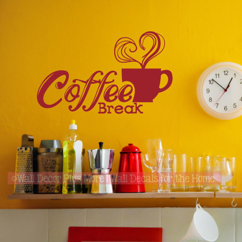 Kitchen Wall Decal Coffee Break Sticker Quotes Decor Vinyl Art Letter-Red