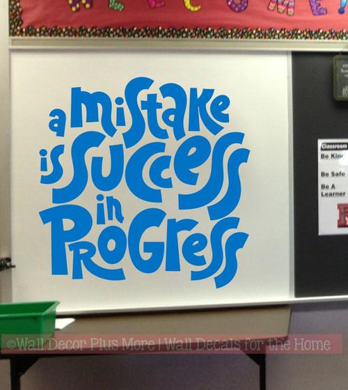 School Wall Decor Sticker Mistake Success in Progress Decal Quote Art-Traffic Blue
