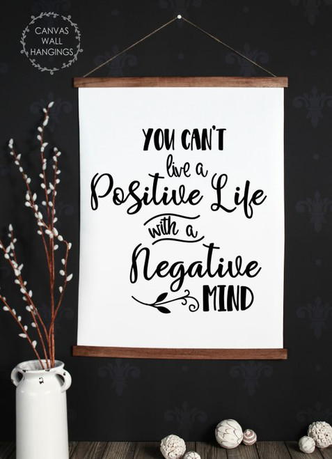 Wood Canvas Wall Hanging Positive Life Mind Inspirational Sign Art Decor-23x30