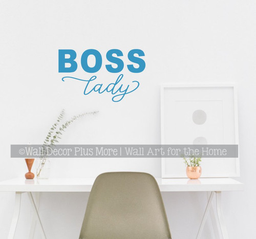 Boss Lady Office Wall Art Decor Sticker Vinyl Words Lettering Quote-Bayou Blue