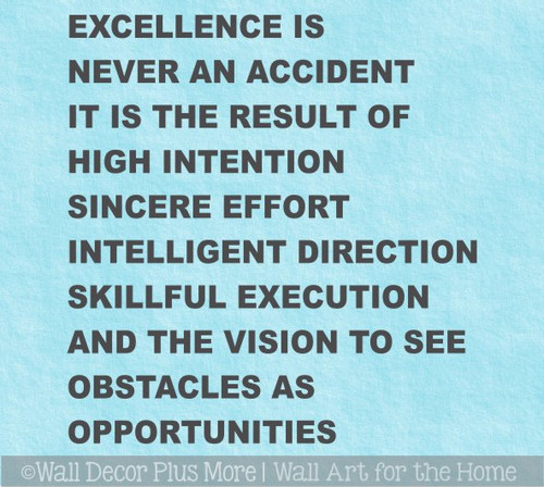 Bold Simple Office Wall Art Motivational Words Excellence Is Decor Sticker