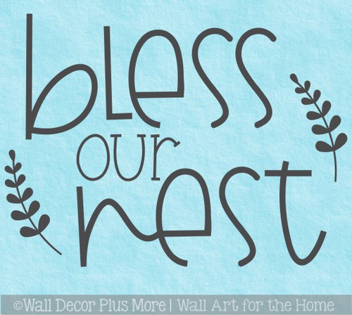 Bless Our Nest Funky Farmhouse Style Wall Decal Sticker Lettering Quote