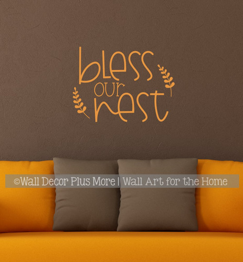 Bless Our Nest Funky Farmhouse Style Wall Decal Sticker Lettering Quote-Rust Orange