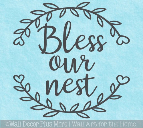 Letters in Laurel Wreath Wall Decal Bless our Nest Cursive Decor Sticker