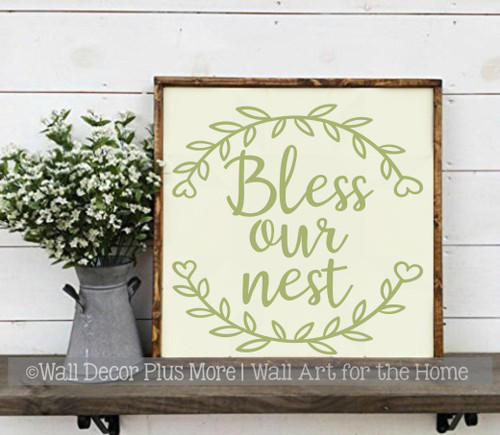 Letters in Laurel Wreath Wall Decal Bless our Nest Cursive Decor Sticker-Olive Green