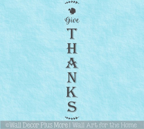Decal Sticker for Tall Wood Sign Fall Porch Give Thanks Wreath Turkey