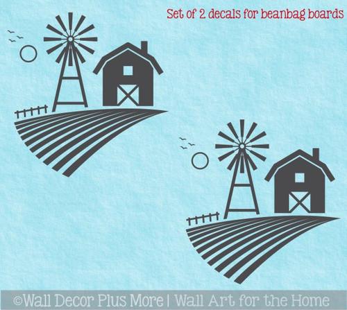 Farm Scene Windmill Barn Decal or Stencil for Bean bag Cornhole Boards