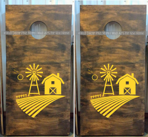 Farm Scene Windmill Barn Decal or Stencil for Bean bag Cornhole Boards-Yellow