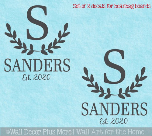 Decal or Stencil for Bean bag Game Art Cornhole Boards Letter Name Date