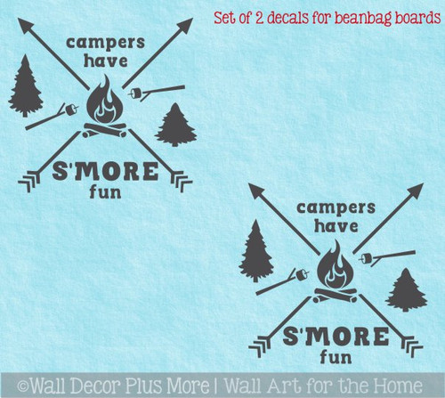Decal or Stencil - Bean bag Toss Cornhole Boards Campers Have Smore Fun