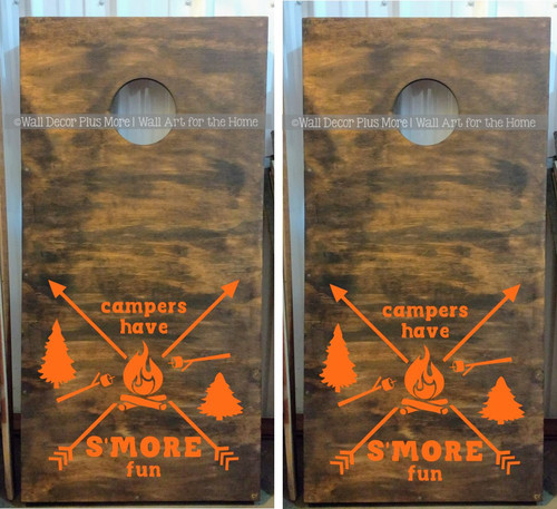 Decal or Stencil - Bean bag Toss Cornhole Boards Campers Have Smore Fun-Glossy Orange