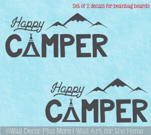 Bean Bag Toss Game, Decal or Stencil, Cornhole Boards Art Happy Camper