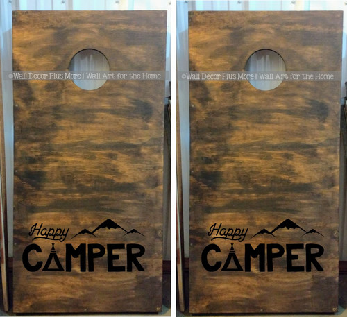 Bean Bag Toss Game, Decal or Stencil, Cornhole Boards Art Happy Camper-Glossy Black