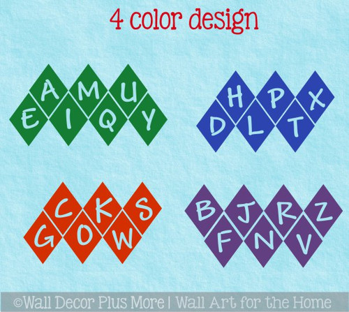 Sensory Path Floor Decals School Hallway Hopscotch Alphabet Letter Diamond-4 color