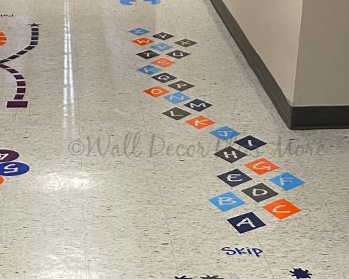 Sensory Path Floor Decals School Hallway Skip Alphabet Letter Diamond-layout suggestion on floor - Colors used Deep Blue Orange Ice Blue Charcoal Gray