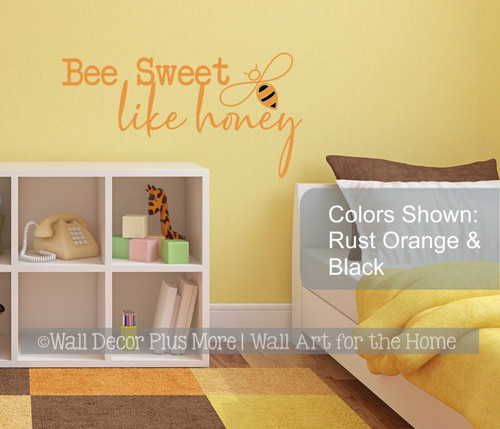 Bee Wall Decor Sweet Like Honey Inspirational Wall Decal Sticker Quote-Rust Orange/Black