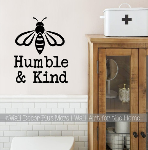 Bee Wall Decor Sticker Be Humble & Kind Quote Vinyl Decal Art Decoration-Black
