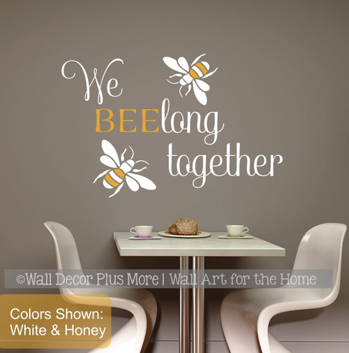 Bee Wall Decor Sticker Belong Together Love Quotes Bedroom Vinyl Decal-White/Honey