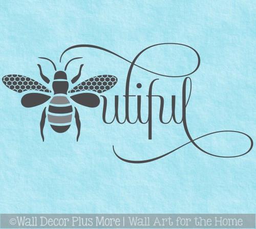 Bee Wall Decor Girls Wall Decal Sticker Art Beautiful Bedroom Art Words
