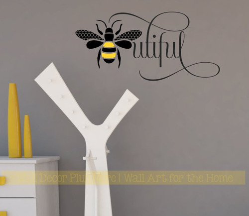 Bee Wall Decor Girls Wall Decal Sticker Art Beautiful Bedroom Art Words-Black/Yellow