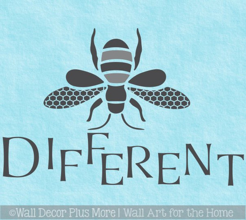 Bee Wall Decor Decal Be Different Wall Sticker Vinyl Lettering Room Art