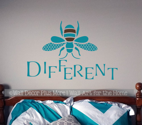 Bee Wall Decor Decal Be Different Wall Sticker Vinyl Lettering Room Art-Teal/Chocolate Brown