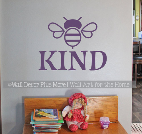 Bee Wall Decor Sticker Be Kind Decal Vinyl Letters for Kids School Art-Plum