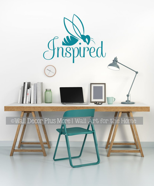 Bee Wall Decor Decal Be Inspired Vinyl Art Sticker Lettering for Walls-Teal