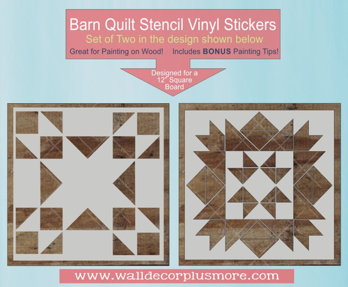 Barn Quilt Stencils Sticker Wall Decor DIY Block Vinyl Art Pattern 2 pc