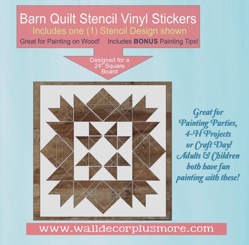 Barn  Quilt Black Stencil Sticker for Painting Wood DIY Art Decor 24-In
