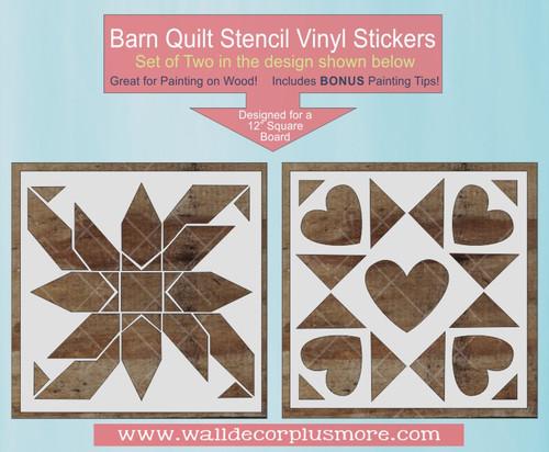 Barn Quilt Stencils Wall Decor Sticker Flower Heart Block DIY Wood Sign
