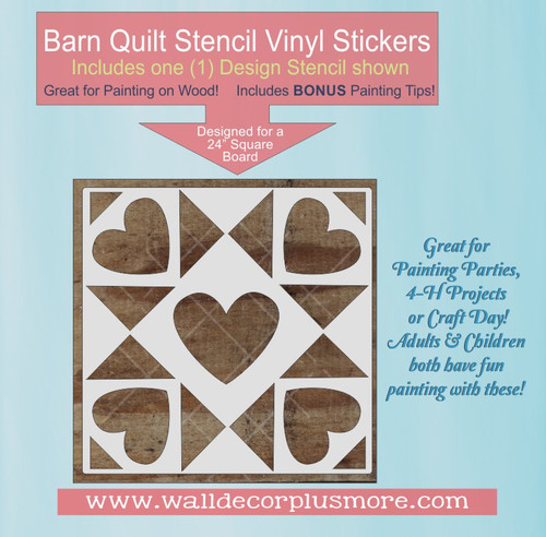 Barn Quilt Stencil Wall Decor Sticker Hearts Pattern Block Paint a Sign