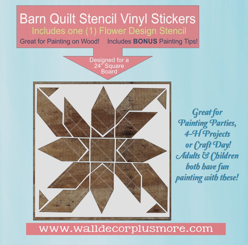 Barn Quilt Stencil Sticker Wall Art Floral Block Pattern Paint on Wood