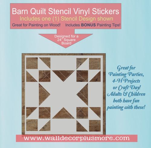 Barn Quilt Stencil Sticker Wall Art Triangle Square Block Pattern 24-In