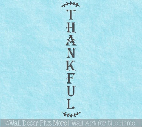 Decal Sticker for Tall Wood Sign Vertical Thankful Autumn Porch Decor