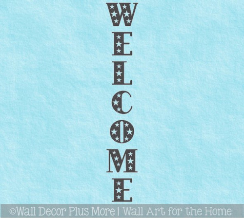 Decal Sticker for Tall Vertical Wood Sign Welcome with Patriotic Stars